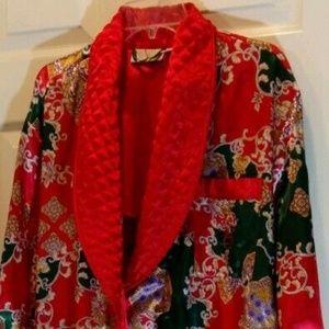 Victoria's Secret Petite Sm Robe w/tie Red Green